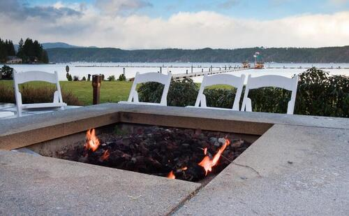 fire pit overlooking lake